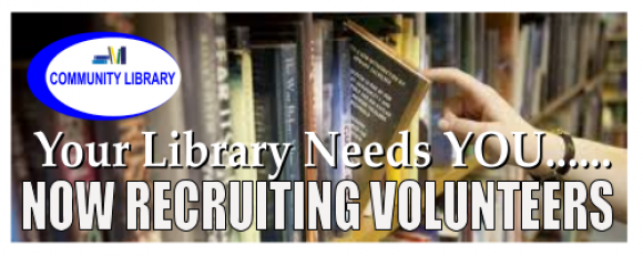 "Banner graphic: ""Your Library needs YOU! Now recruiting volunteers"